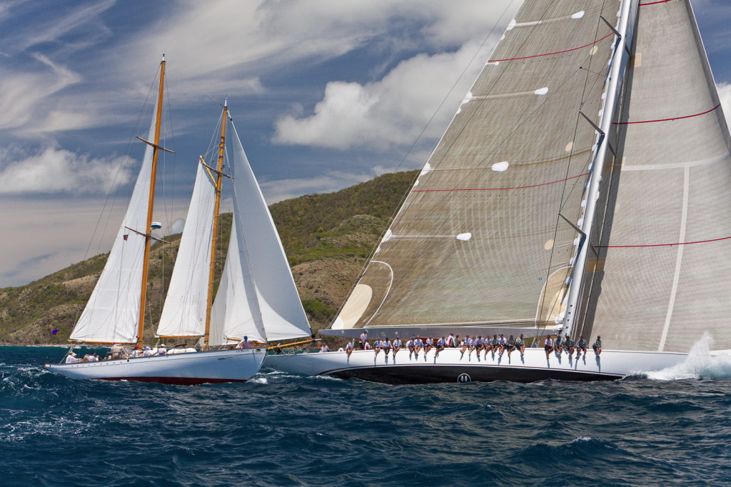 Heron racing with J-boat Antigua Classic Yacht Regatta
