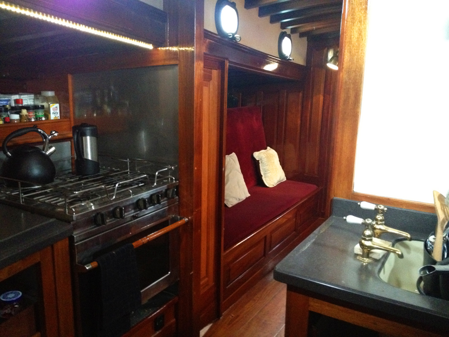 Heron interior layout - Galley looking aft on Schooner Yacht Heron