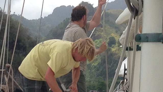 Raising Sail on Schooner Yacht HERON